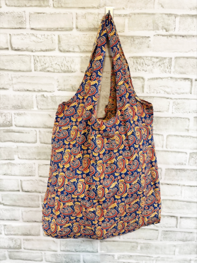 Paisley Blue and Red Screen-Printed Tote
