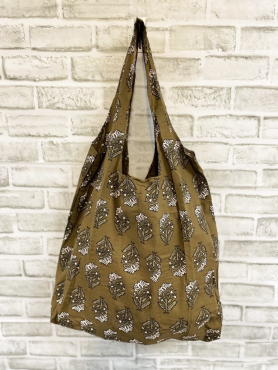 Floral Green Screen-Printed Tote