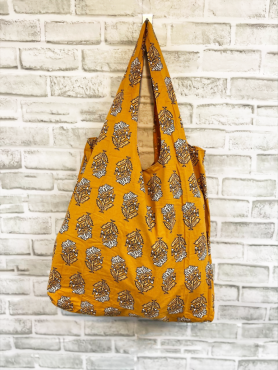 Floral Yellow Screen-Printed Tote